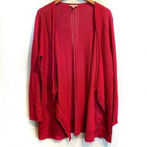 Eileen Fisher Red Linen Draped Open Front Cardigan